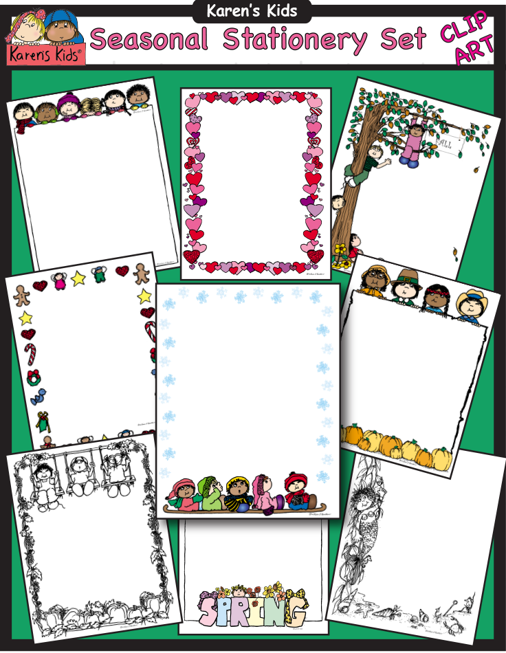 Seasonal Stationery includes 93 image files. 36 full color.