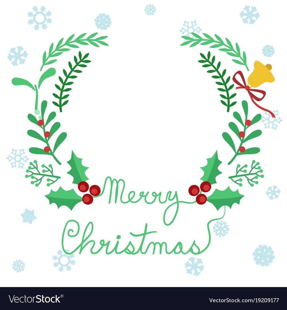 Merry christmas circular wreath seasonal clip art.