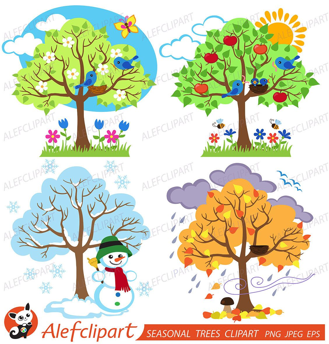 Four Seasons Trees Clipart Seasonal Trees and Birds Clipart.