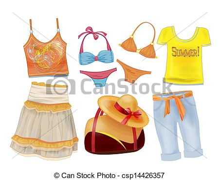 Vector Clip Art of set of seasonal clothes for girls csp10504011.