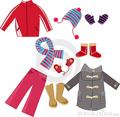 Winter Clothes Collection Stock Photo.