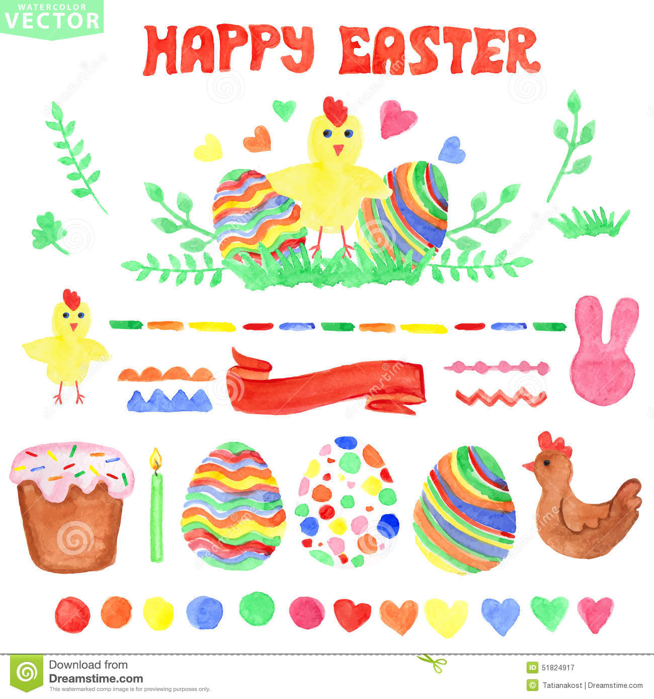 Easter Watercolor Set.Isolated Decor Clipart Stock Vector.