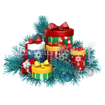 Pile White Gifts with Red Decor.
