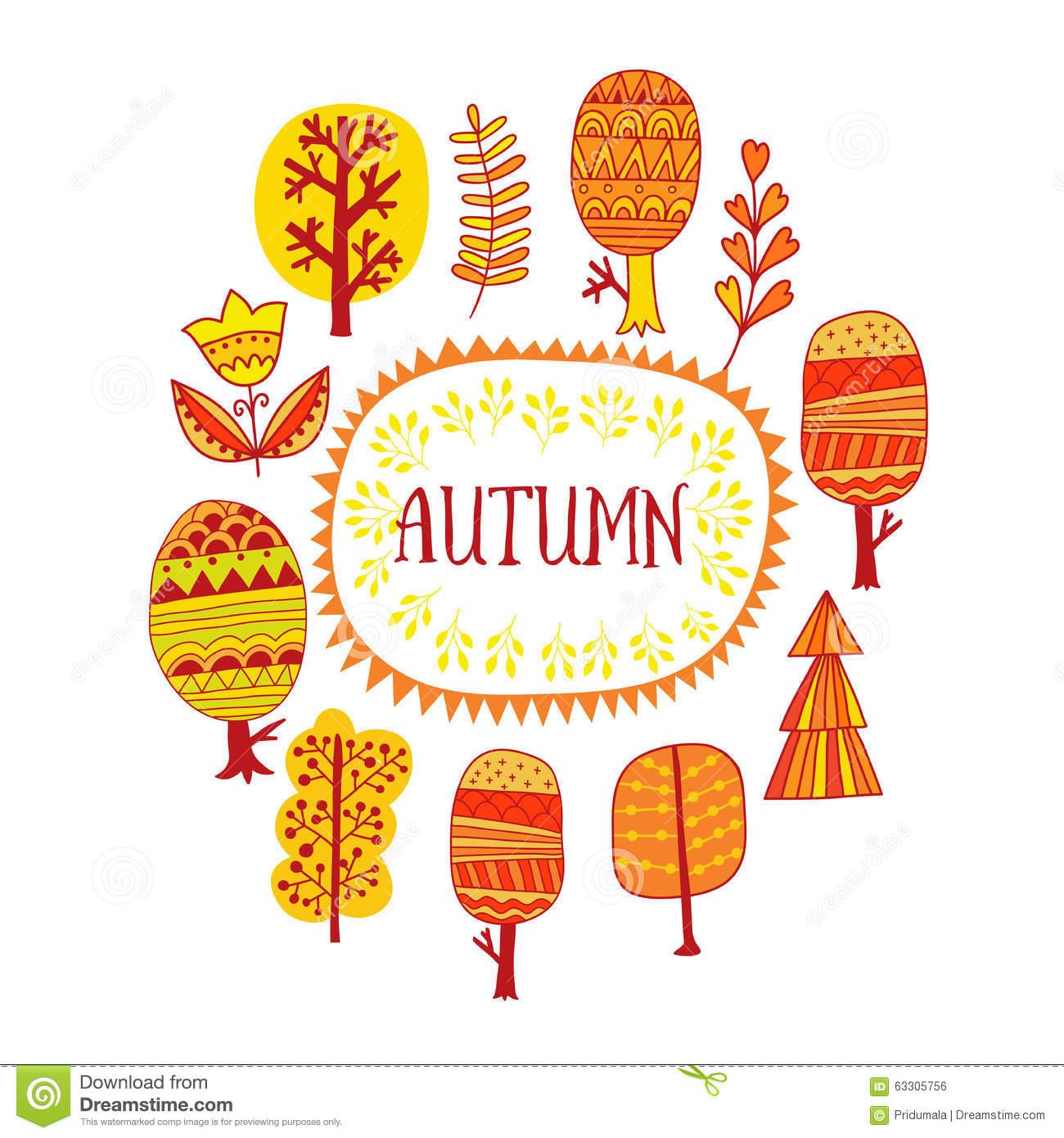 Autumn Trees Design, Frame Illustration, Seasonal Decor. Vector.
