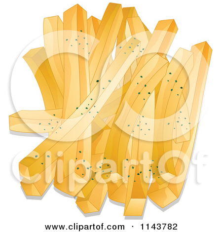 Clipart Of Seasoned French Fries On A Plate.