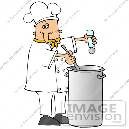 Clip Art Graphic of a Caucasian Male Chef Wearing A Chef's Hat And.