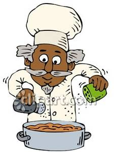 Chef Seasoning Food He's Cooking Royalty Free Clipart Picture.