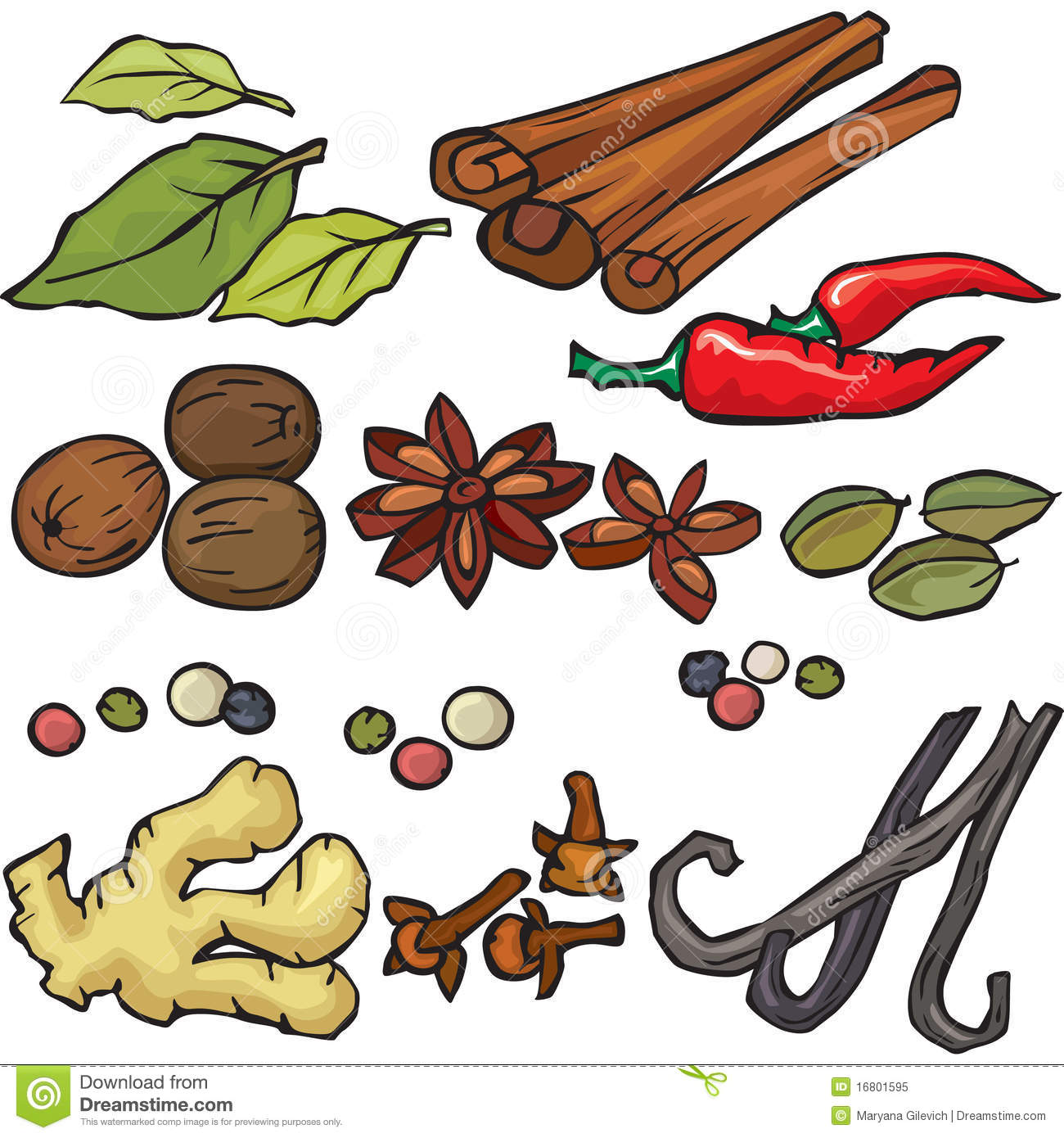 Spices Clipart.