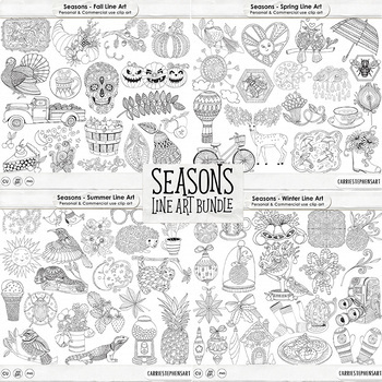 Black Line Art Bundle, Seasons ClipArt Doodles, Winter.