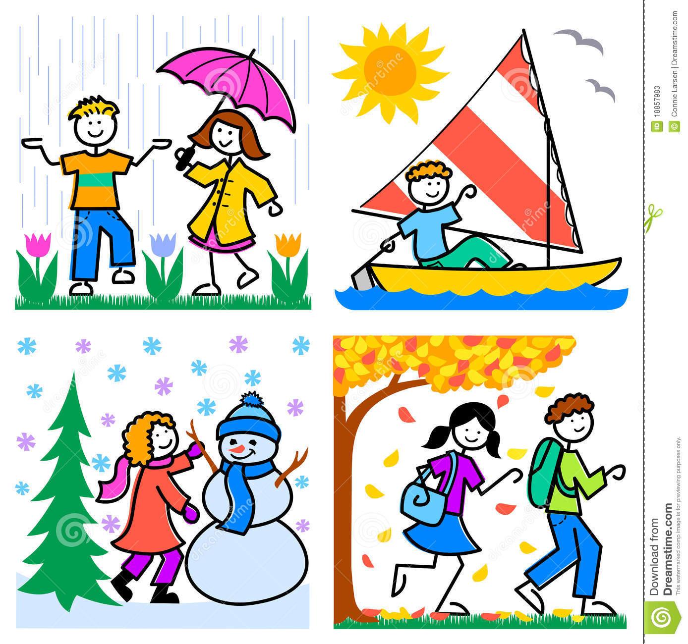Four Seasons Clipart Kids.
