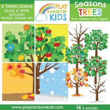 Four Seasons Trees Clipart.