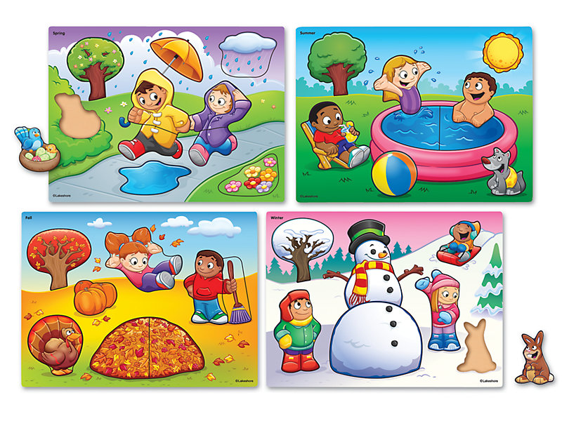 Seasons and Weather Puzzle Set.