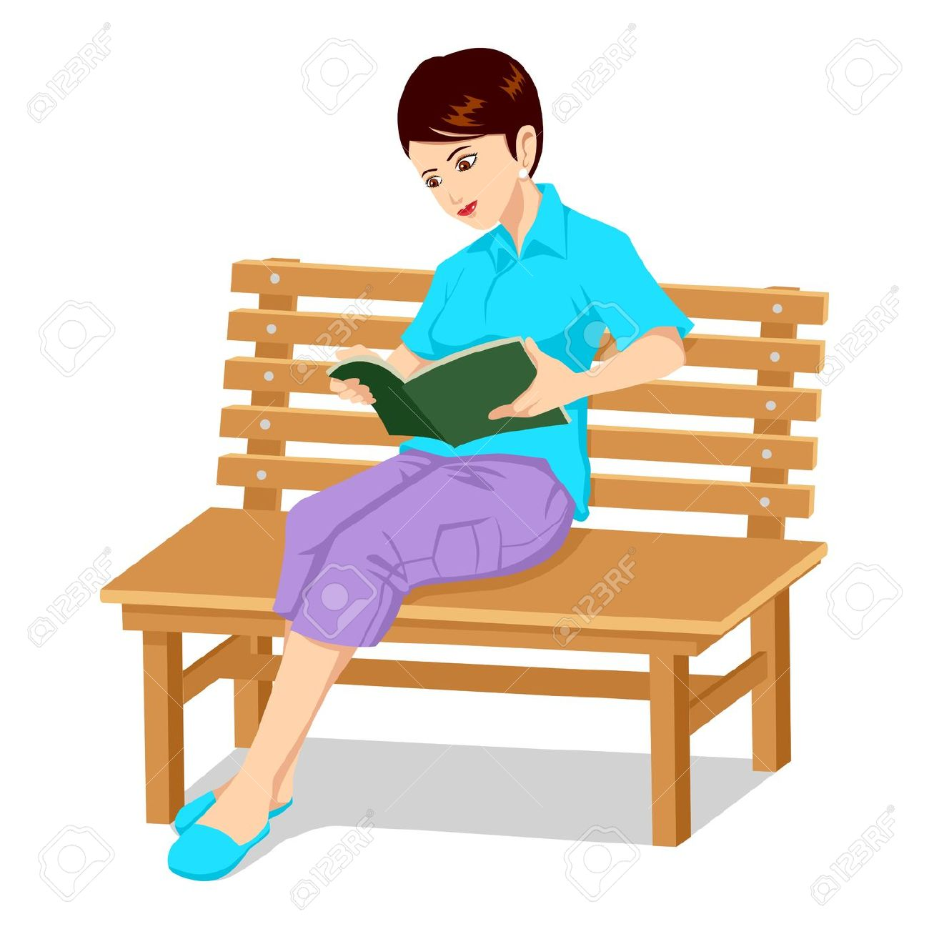 Sitting on bench clipart.