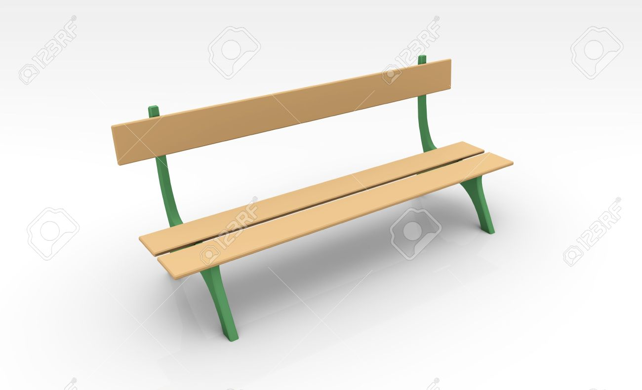 Park Bench In 3d Clip Art Isolated Stock Photo, Picture And.