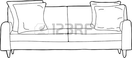Cartoon Outline Of Single Love Seat Sofa With Corner Cushions.