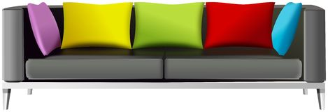 Modern Sofa White Backrest Black Seat Cushions Stock Illustrations.