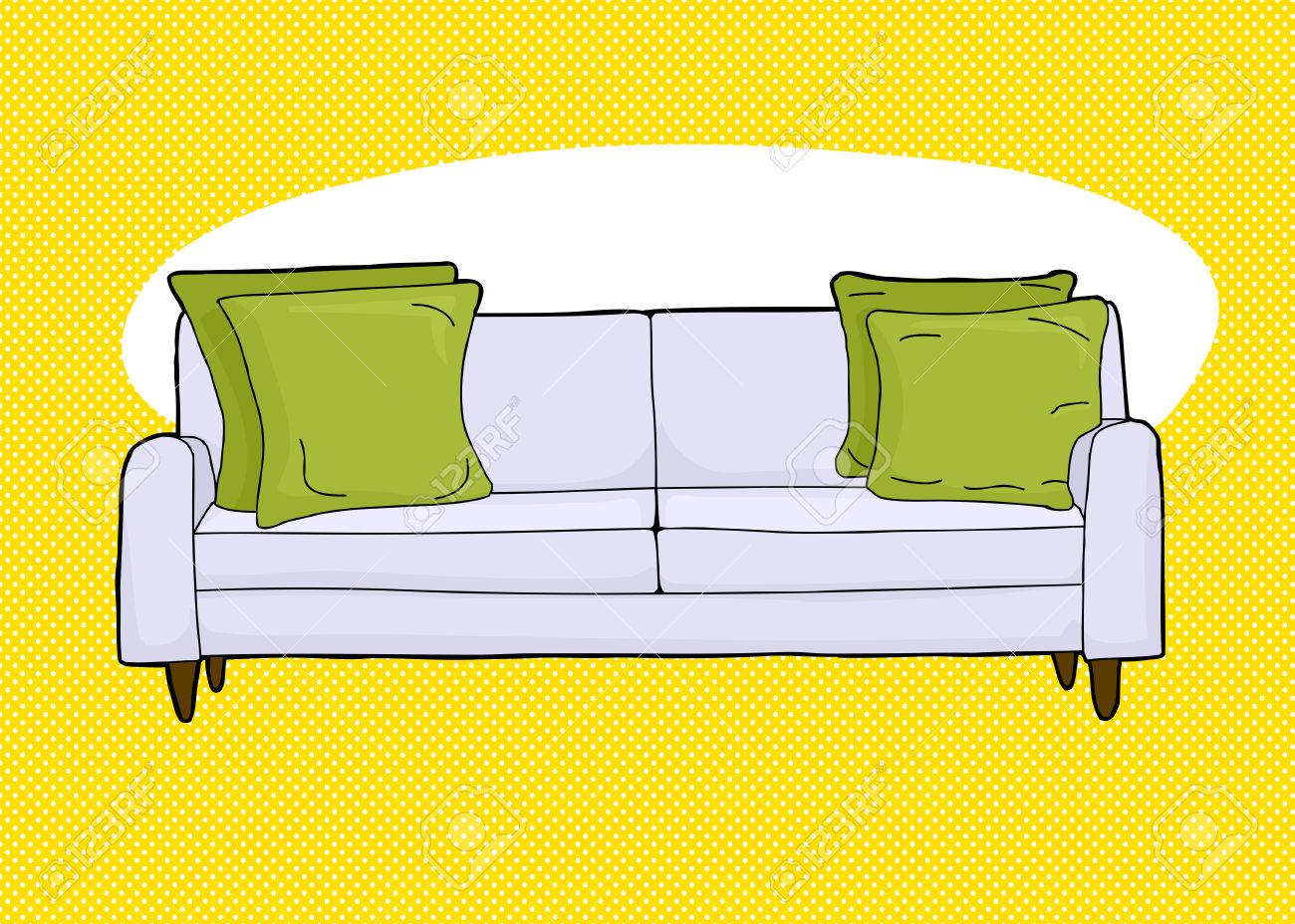 Cartoon Of Single Love Seat Sofa With Corner Cushions Royalty Free.