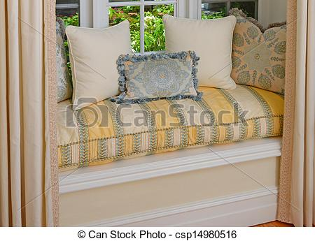 Stock Photography of A seating area in a bay window with.