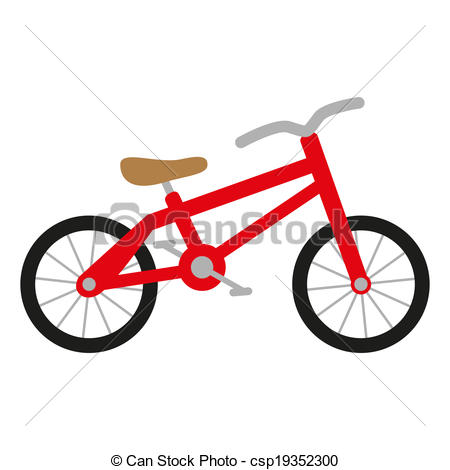 Vector Clipart of red bike with wheels, seat and handlebar.