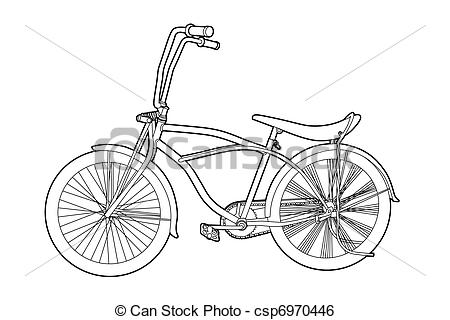 Clip Art Vector of Outline bicycle.