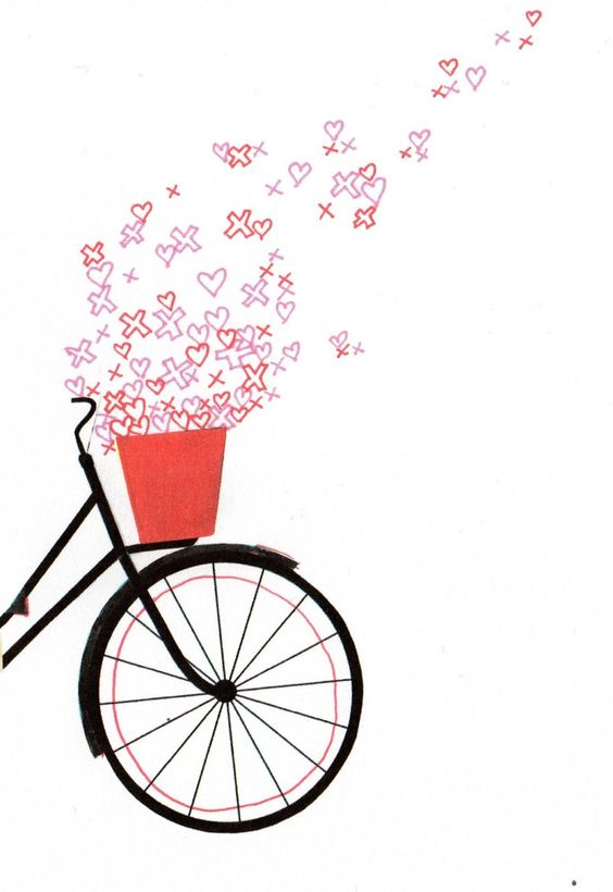 Bicycle spring love illustration a4 digital print.indie love heart.