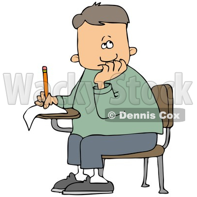 Illustration of a Nervous School Boy Seated At His Desk, Trying To.