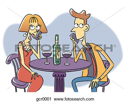 Clipart of A man and woman each talking on their phones while.