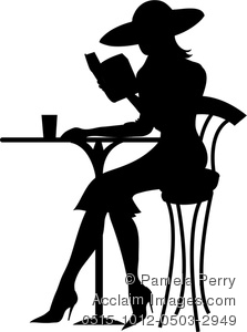 Clip Art Image of a Silhouette of a Woman Sitting at a Bistro.