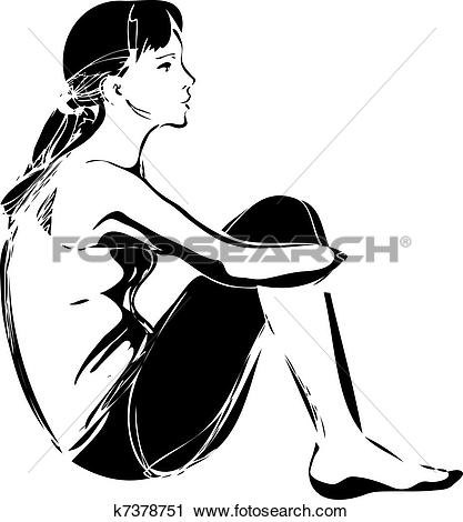 Clipart of sketch of a girl sitting hugging her knees k7378751.