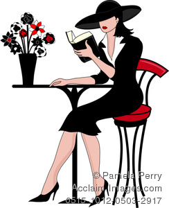 Clip Art Image of a Woman Sitting at a Bistro Table Reading.