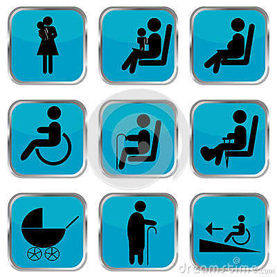 Priority Seating Area Signs Royalty Free Stock Photography.