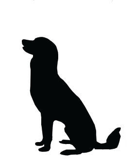 Silhouette Clip Art Large Dog Sitting.