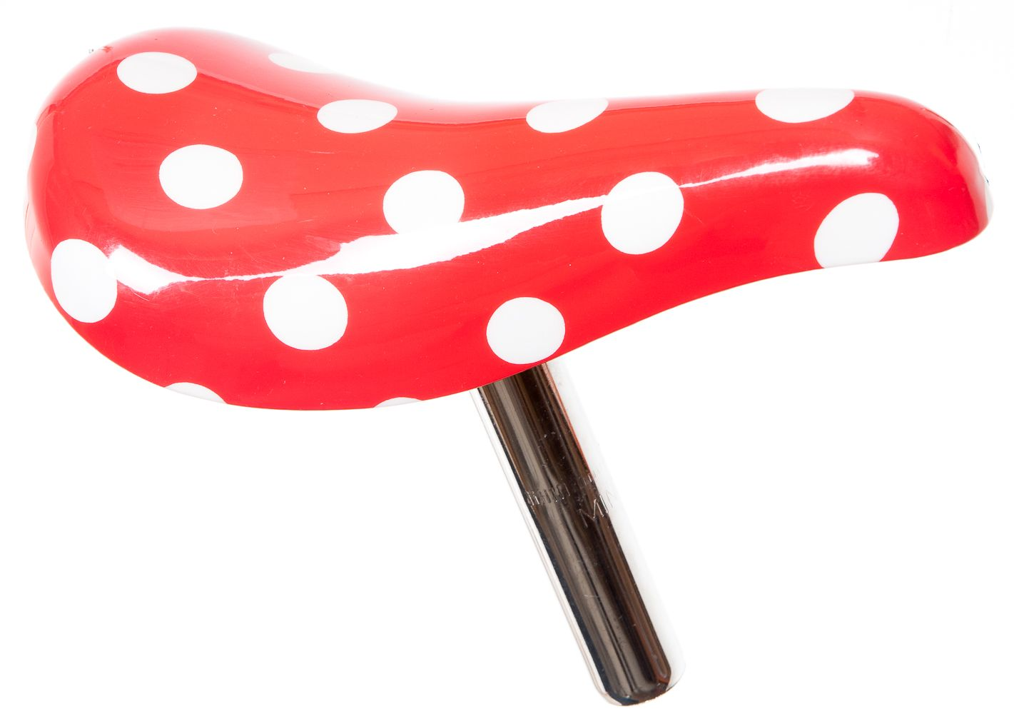 KIDS RED WITH WHITE SPOTS BIKE TRIKE SADDLE & SEATPOST With SMALL.