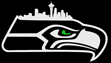 Hawk Logo with Seattle Skyline and Green Eye.