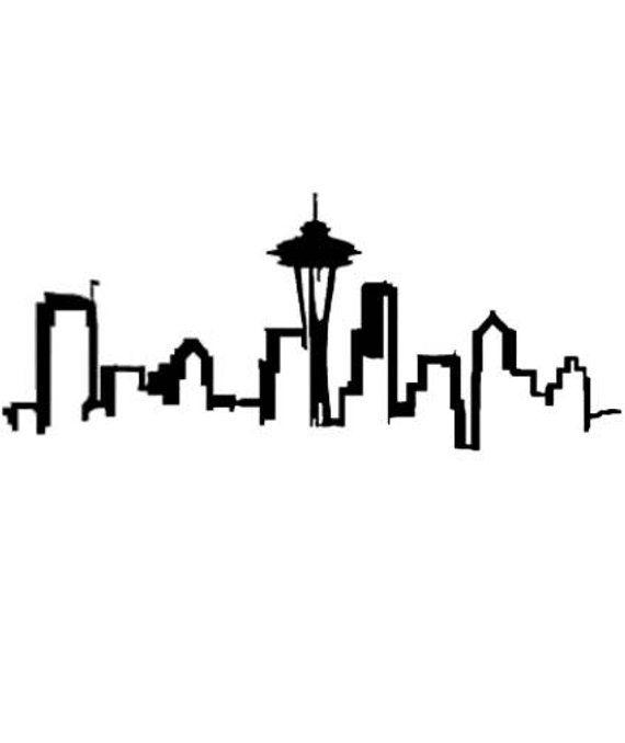Seattle Skyline Silhouette SVG, Seattle SVG, Seattle Skyline.