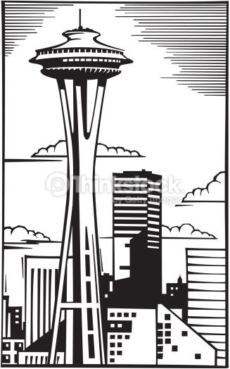Space Needle in Seattle Grouped elements \' The rainy city.