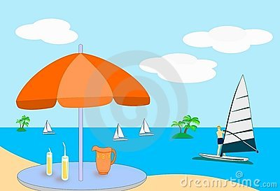 Summer Vacation Beach Sea Views Stock Illustrations.