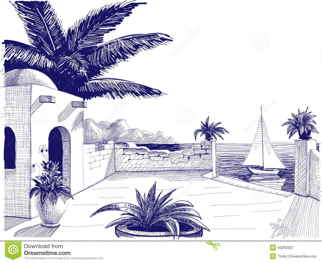 Mediterranean Seaview Stock Illustrations.