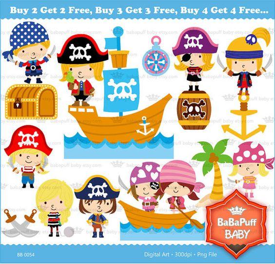 Pirate Kids Clip Art.