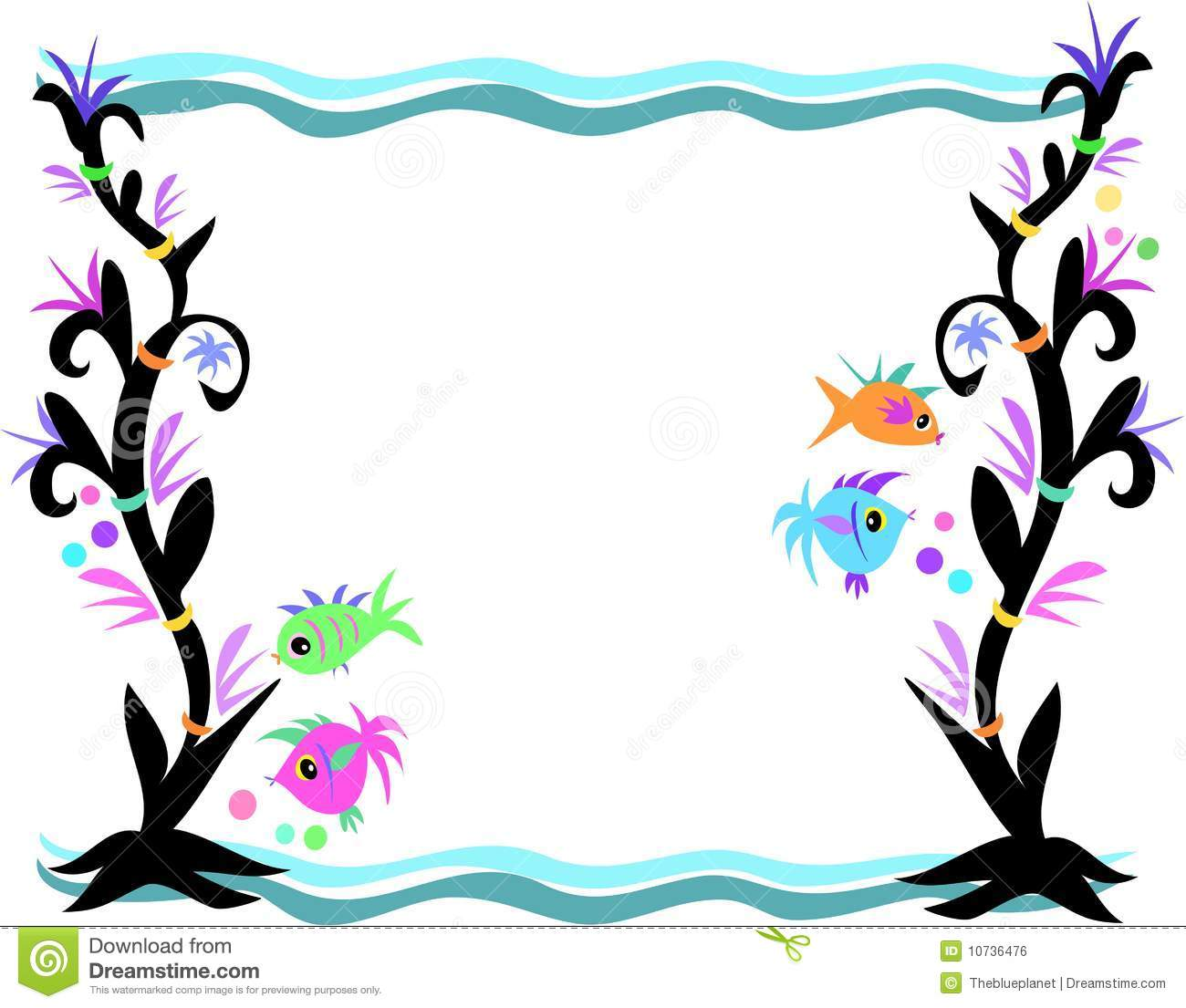 Water Waves Border Clipart.
