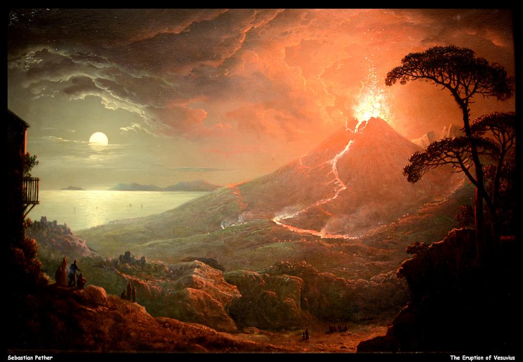 The Eruption of Vesuvius, Sebastian Pether, Oil on panel, 1825 : Art.