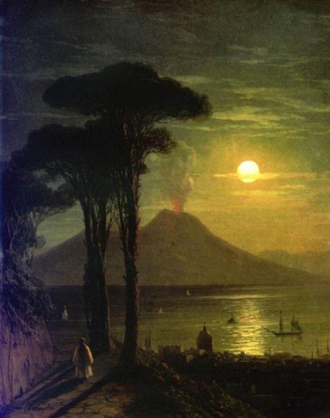 Ivan Aivazovsky The Bay of Naples at moonlit night, Vesuvius.
