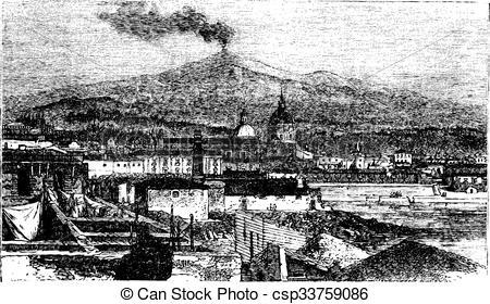 """Vesuvius from Caserta"""" (Detail)."""