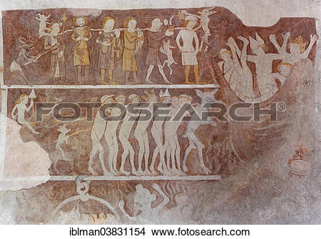 """Stock Photo of """"The Last Judgement, secco painting, frescoes from."""
