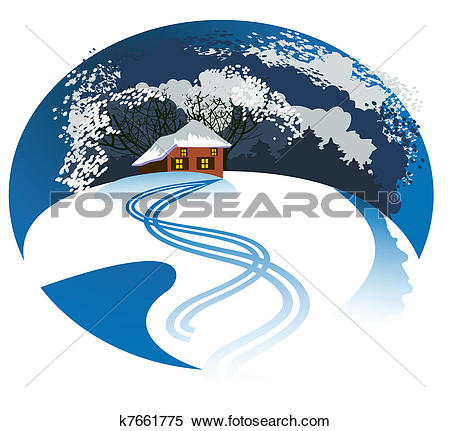 Clipart of Secluded home k7661775.