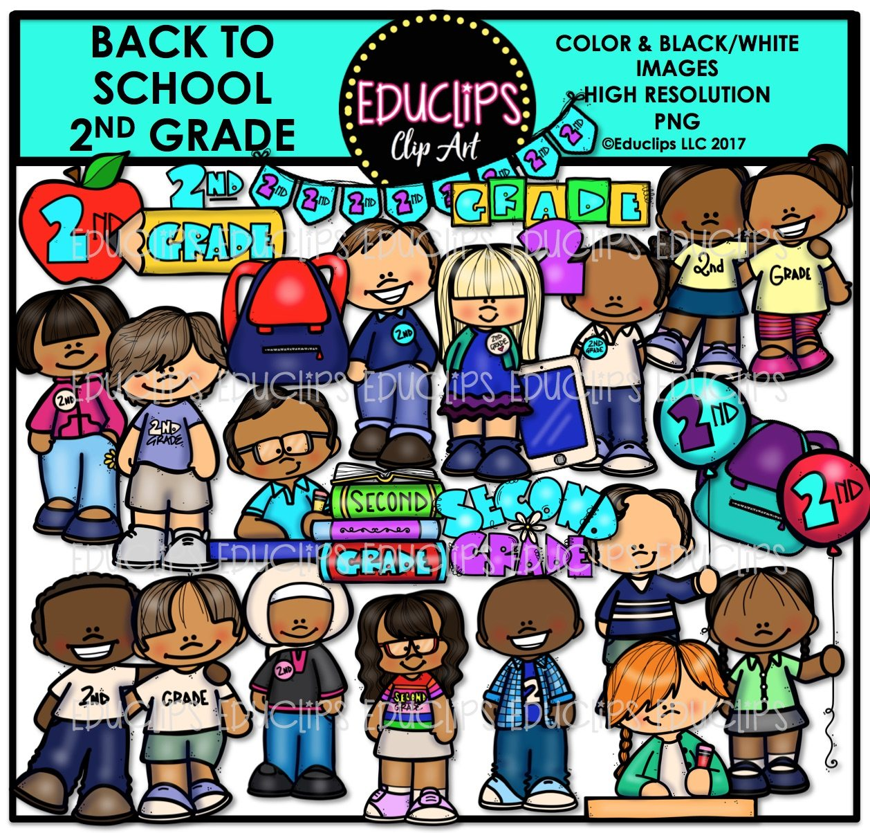 Back To School Second Grade Clip Art Bundle (Color and B&W).