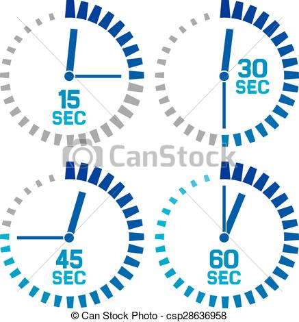 Clipart Vector of seconds clock icons.