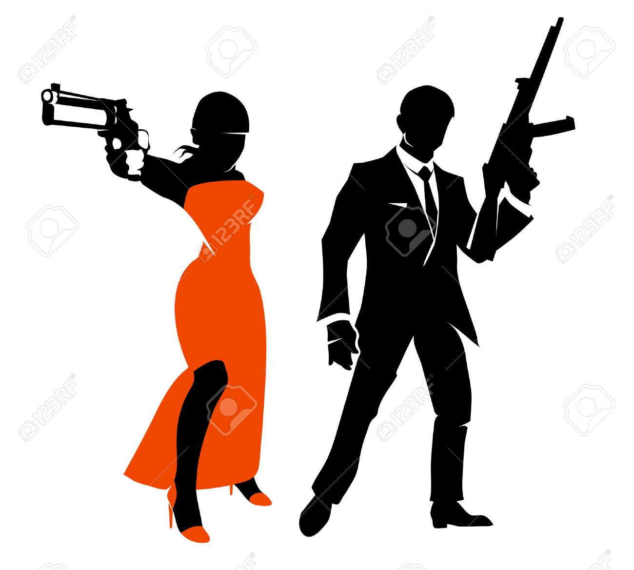 Silhouettes Of Spy Couple. Woman With Weapon In Red Dress.