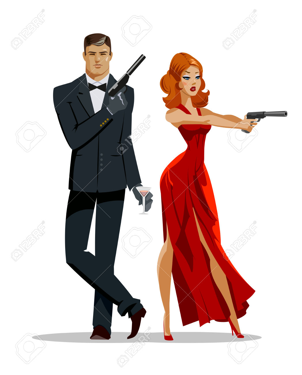 Team Of Secret Agents. Posing On Camera. Sexual Woman In Red.