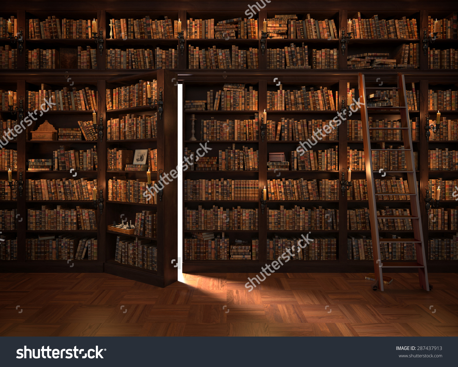 Secret Door Bookcase Mysterious Library Candle Stock Illustration.